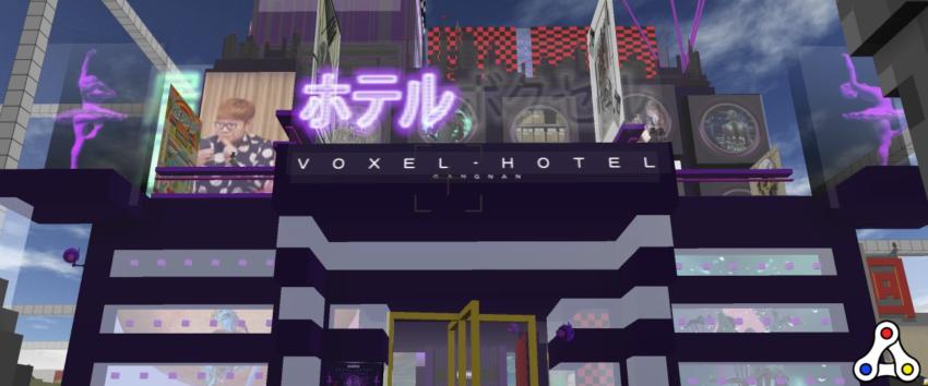 Cryptovoxels voxel hotel screenshot header