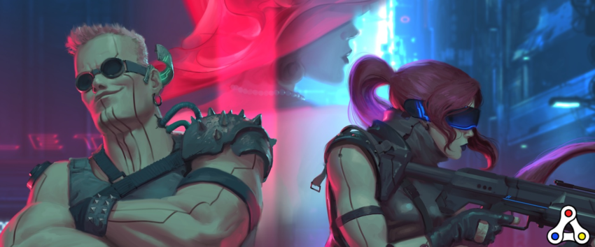Neon District header characters