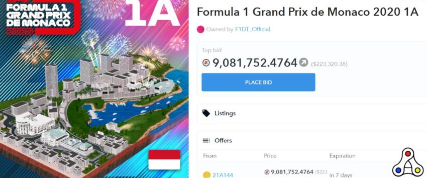 F1 Delta Time track segment monaco record NFT sale