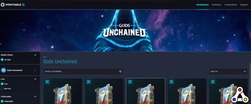immutable x marketplace gods unchained