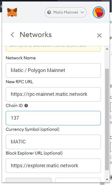 polygon matic custom rpc network metamask settings