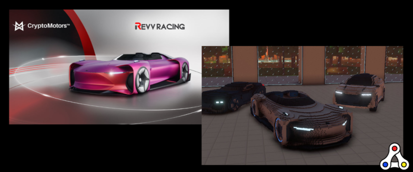 CryptoMotors REVV Racing Sandbox Neon Roadster NFT interoperability