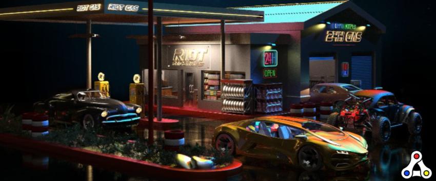 riot-racers-gas-station-NFT-artwork